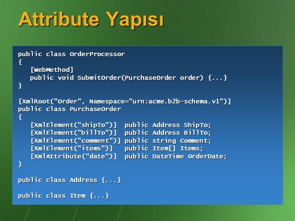Attribute Yapısı public class OrderProcessor { [WebMethod]